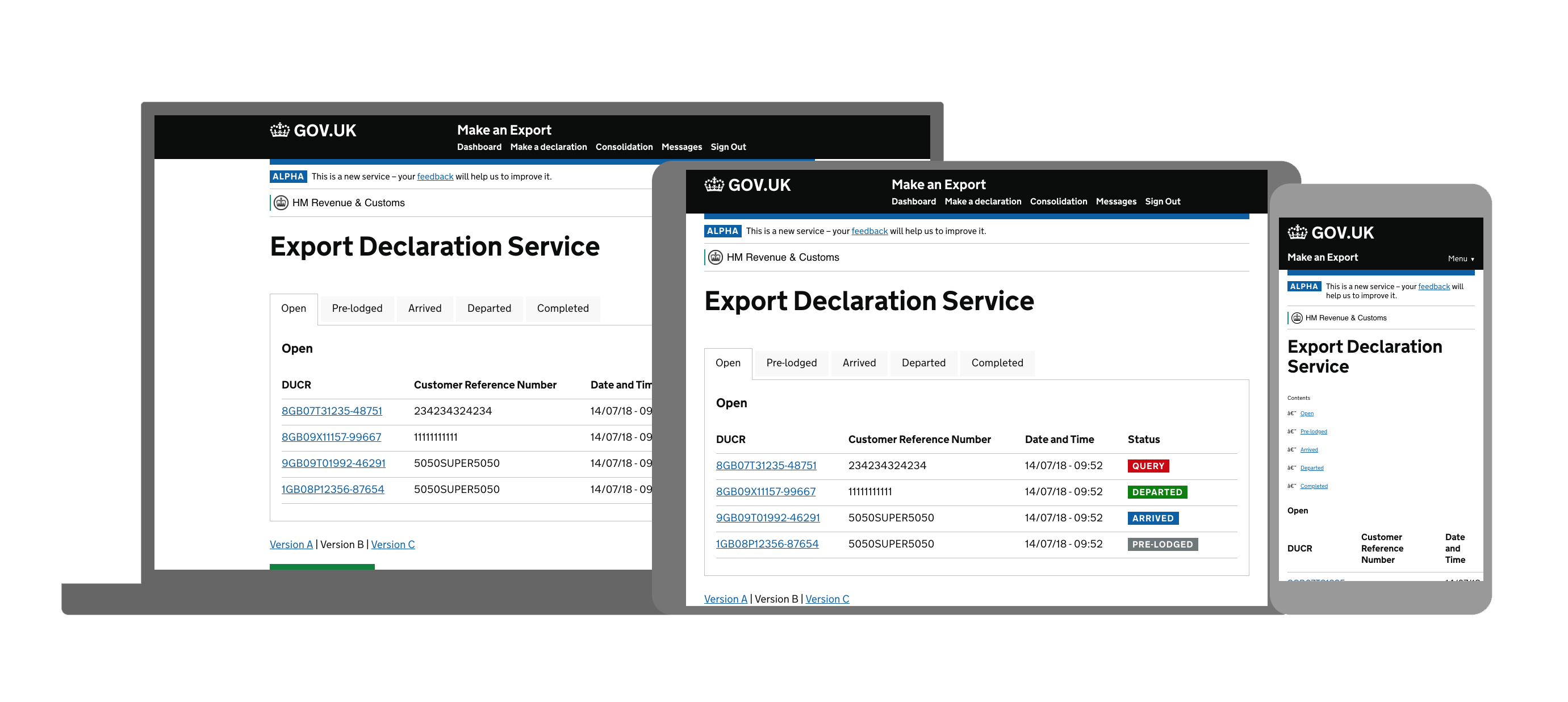 Export Declaration Service dashboard