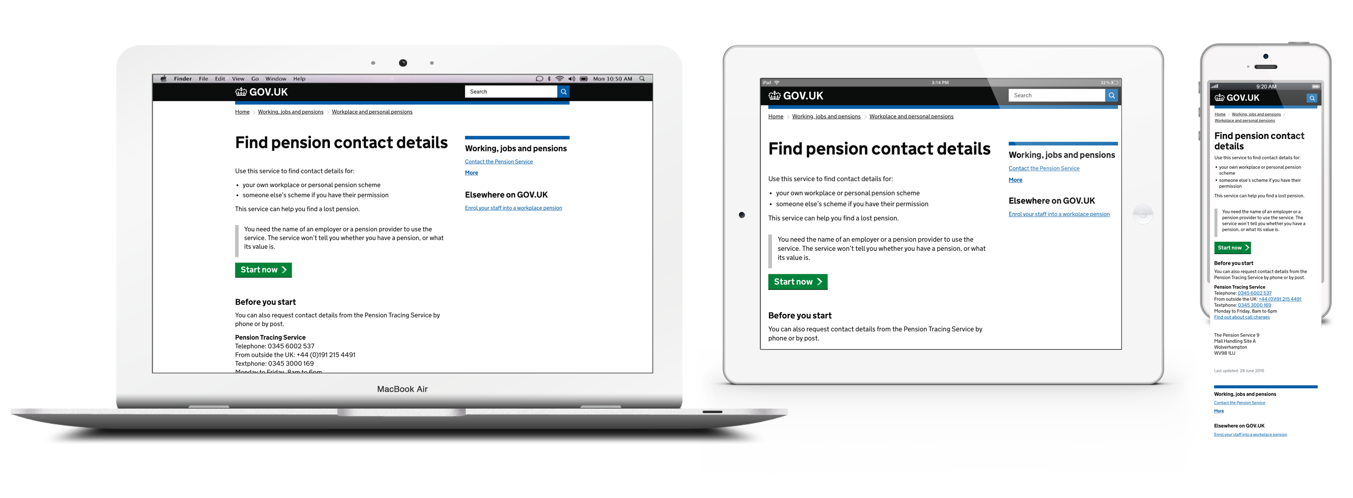 Find a lost pension responsive website